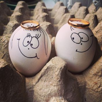 Two eggs with smile faces - бесплатный image #184349