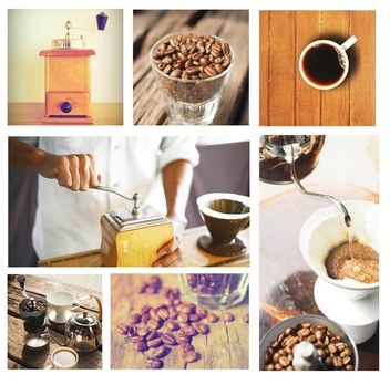 Collage of photos with coffee beans and coffee - image #187019 gratis