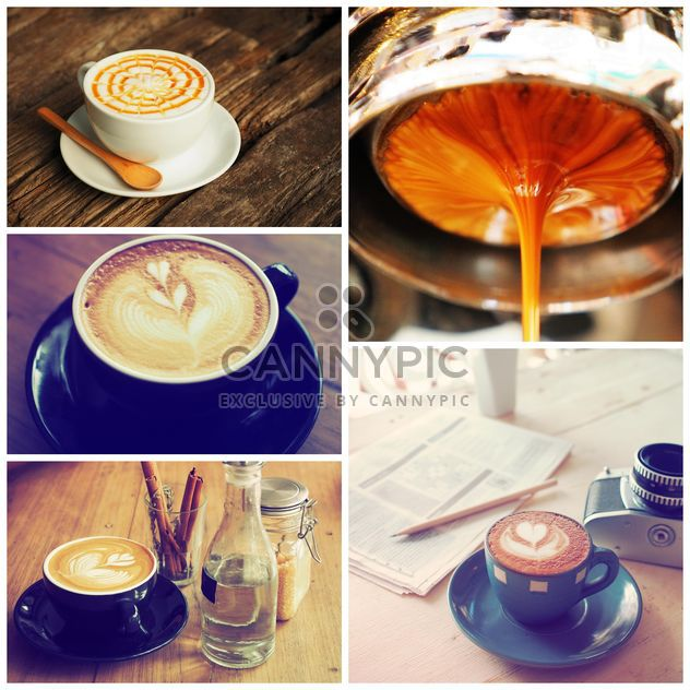 Collage of photos with coffee art - image gratuit #187069