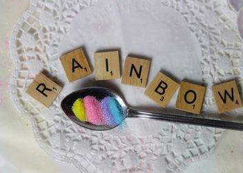 Word rainbow made from wooden letters - бесплатный image #187459