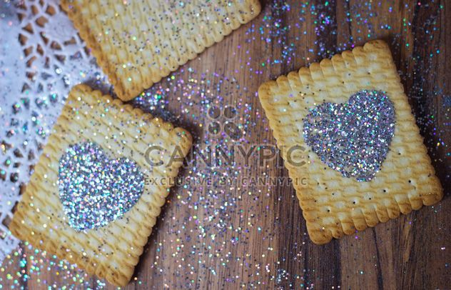 Cookies with glitter hearts - Free image #187639