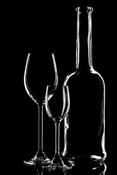 wine glasses and bottle silhouette - image gratuit #187689