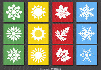 4 seasons icons - vector gratuit #199119