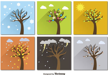Seasonal trees - vector gratuit #199129