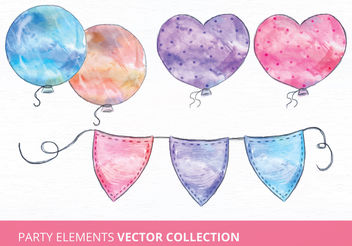 Watercolor Vector Party Elements - Free vector #199299