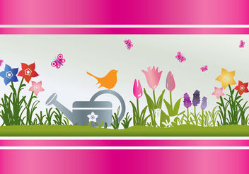 Spring Flowers Watering - Free vector #199309