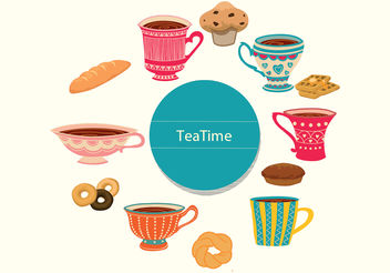 Tea Time Vectors - бесплатный vector #199329
