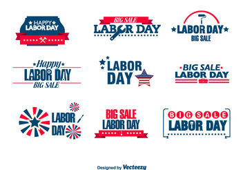 Labor day badges - vector gratuit #199349