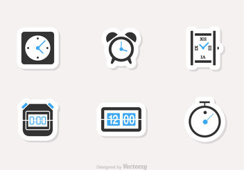 Free Time And Clock Vector Icons - бесплатный vector #199419