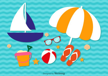 Summer cute vacation elements - vector gratuit #199429