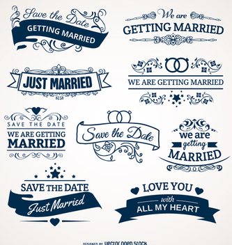 Set of Wedding Badges for invitations cards - vector #199559 gratis
