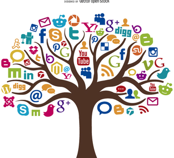 Social Media Tree Concept - Kostenloses vector #199579