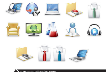 3D Science & Technology Icons - vector gratuit #199739