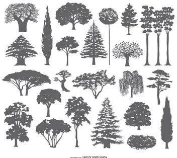 27 Tree silhouettes collection - vector #199779 gratis