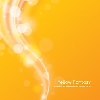 Shiny Bokeh Wave Yellow Background - Free vector #199799