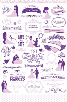 Wedding invitation graphic set - vector gratuit #200049