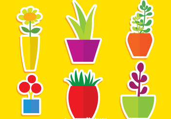 Flat Plants In Pot Vectors - vector gratuit #200409