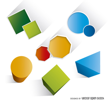 Geometric basic colorful shapes - vector gratuit #200529