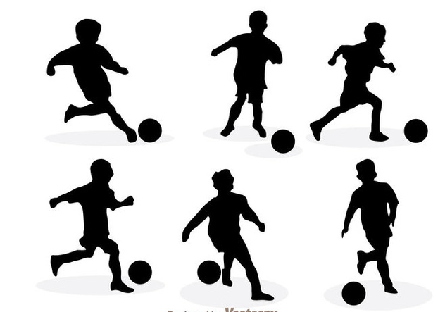 Playing Soccer Silhouette Vectors - vector gratuit #200589