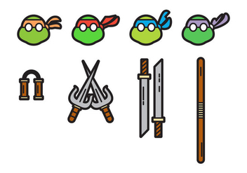 Free Cute Ninja Turtles Vectors - Free vector #200879