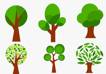 Set of abstract vector trees - vector #201319 gratis
