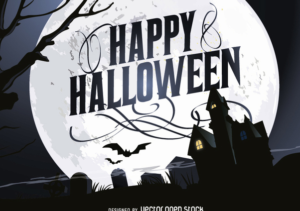 Happy Halloween Haunted House poster - vector gratuit #201379