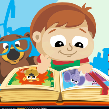 Cute Little Boy with Book Vector - vector gratuit #201849