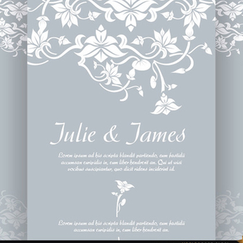 Floral Wedding Invitation Vector - vector gratuit #201929