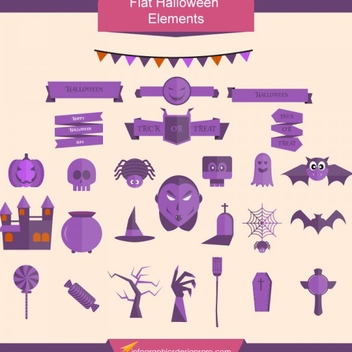 Free Vector Flat Halloween Elements - бесплатный vector #201939