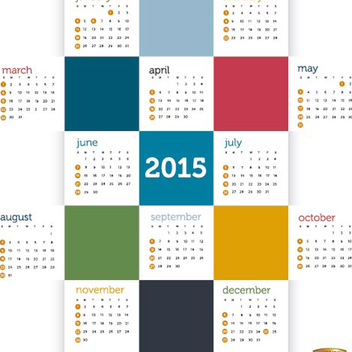 2015 Calendar Vector with Colored Squares - Kostenloses vector #202059