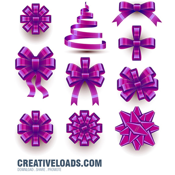 Purple Christmas Bow Vector Set - Kostenloses vector #202119