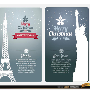 Merry Christmas Card Vectors from Paris & New York - Free vector #202149