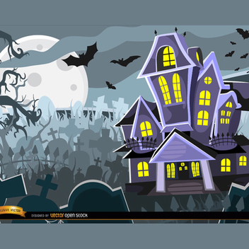 Halloween Haunted House Vector - Free vector #202169