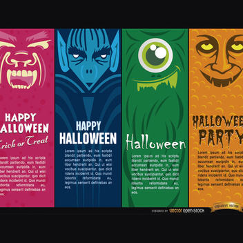 Halloween Vector Monsters Bookmarks - Free vector #202179