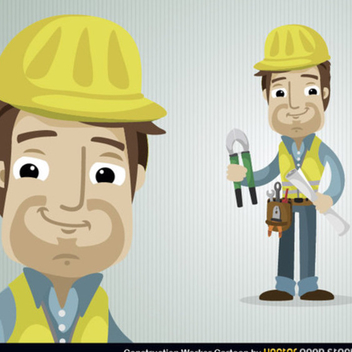 Free Vector Construction Worker Character - vector gratuit #202319
