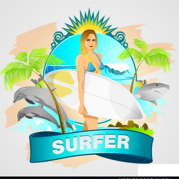 Free Vector Surfer Girl Wallpaper - Free vector #202379