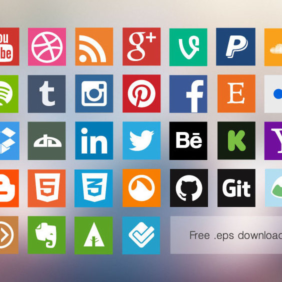 Flat Social Media Icons - vector gratuit #202749