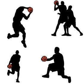 Basketball Players Silhouettes - vector gratuit #202849