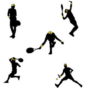 Tennis Players Silhouettes - vector gratuit #202879