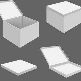 White Box Mockup - vector gratuit #203109