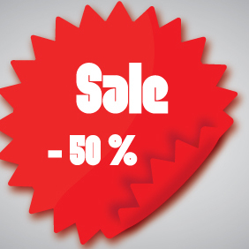 Red Sale Sticker - Free vector #203279