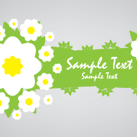 Green Eco Banner With Flowers - vector gratuit #203629