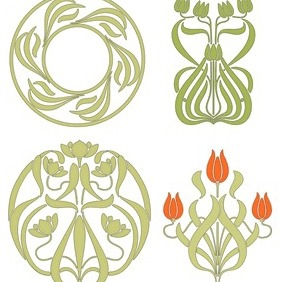 Floral Brushwork Patterns - Free vector #204559