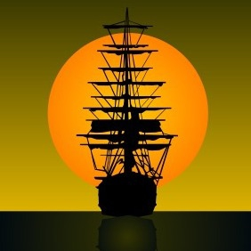 Sailing Vessel On Sunset - vector gratuit #204879