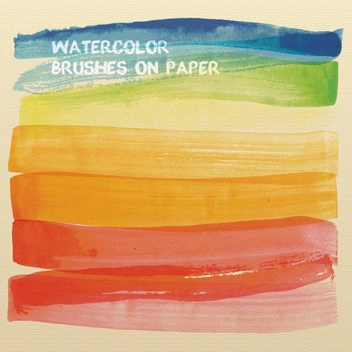 Watercolor Brushes On Paper - vector gratuit #205479