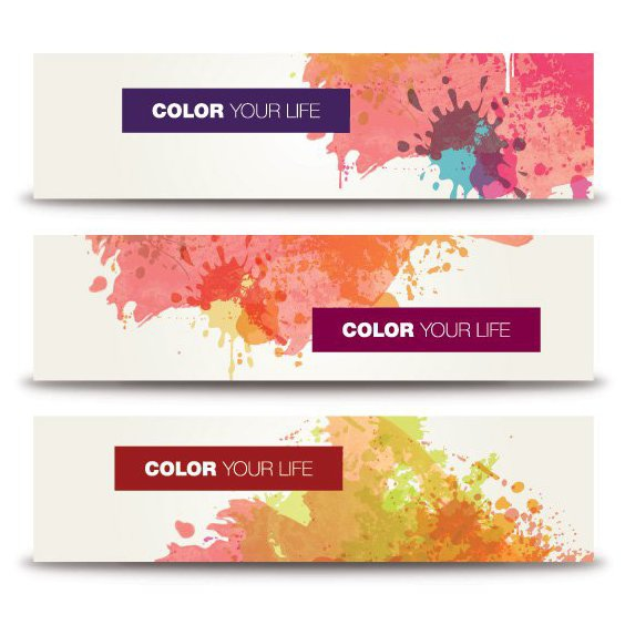 Splashed Color Banners - Free vector #205609