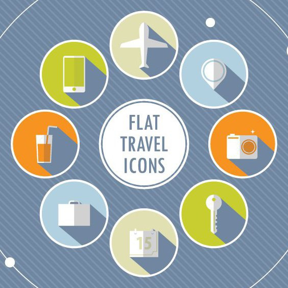 Flat Travel Icons - Free vector #205759