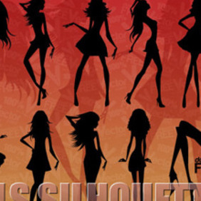 Silhouette Of Beautiful Girls - vector #206069 gratis
