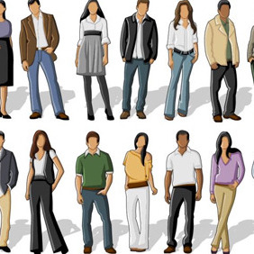 Simplistic People Vectors - Free vector #206169