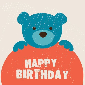 Cute Birthday Card - бесплатный vector #206279